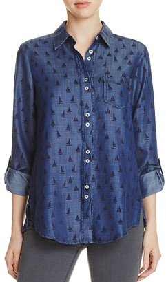 Foxcroft Zoey Sailboat Print Chambray Shirt $98 thestylecure.com