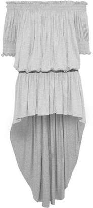 Norma Kamali Off-the-shoulder Gathered Melange Stretch-jersey Mini Dress
