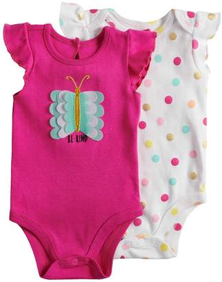 Baby Starters Baby Girl 2-pk. Butterfly & Polka-Dot Bodysuits