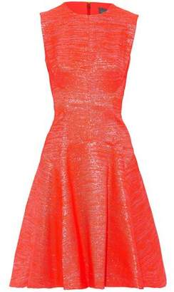 Lela Rose Fluted Metallic Neon Raffia Dress