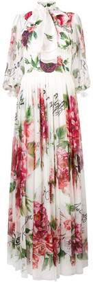 Dolce & Gabbana rose print maxi dress