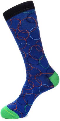 Jared Lang Circle-Print Cotton-Blend Socks, Blue $15 thestylecure.com