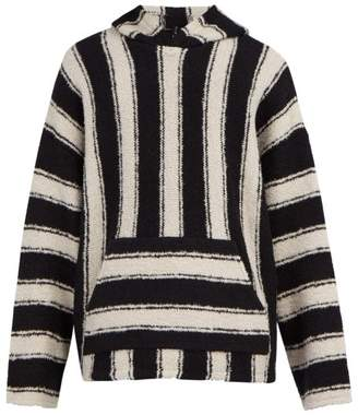 Amiri Baja Striped Wool Blend Hooded Sweater - Mens - Black