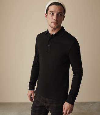 Reiss Our last order date for Christmas has now passed ERNEST LONG SLEEVED POLO SHIRT Black
