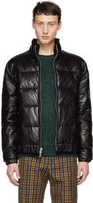 John Elliott Black Leather Down Bomber jacket
