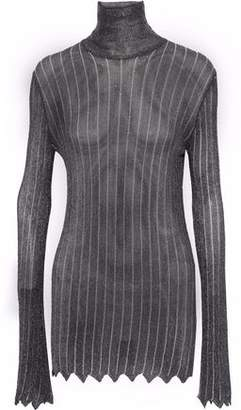 Ellery Metallic Striped Open-Knit Turtleneck Top