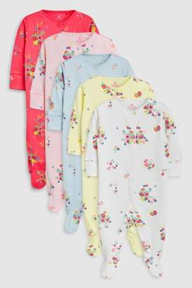 Next Girls Bright Multi Floral Sleepsuits Five Pack (0mths-2yrs)