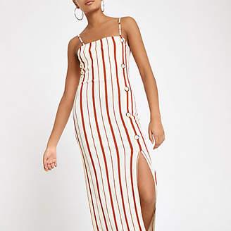 River Island Cream stripe button down maxi slip dress