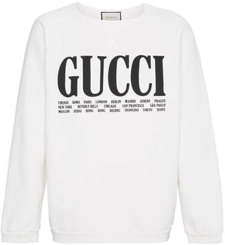 Gucci World Cities print cotton sweatshirt