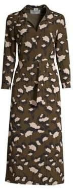 BOSS Higena Floral Belted Midi Dress