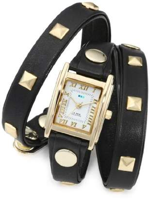 La Mer Women's LMLW1010A Gold-Tone Watch with Black Leather Wrap-Around Band