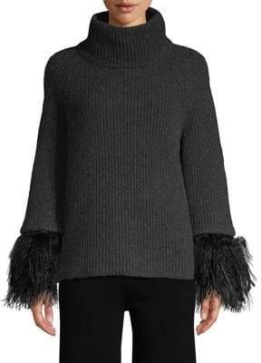 TSE x SFA Turtleneck Sweater with Feather& Lamb Fur Cuff