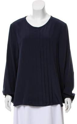0775365894503d Becken Long Sleeve Pleat Front Blouse w/ Tags
