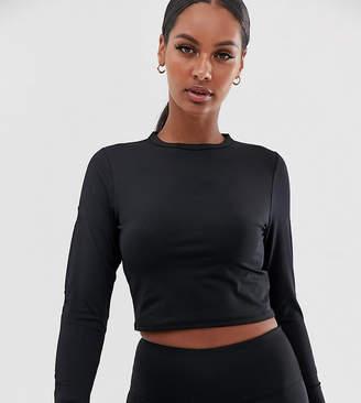 South Beach star mesh long sleeve top in black