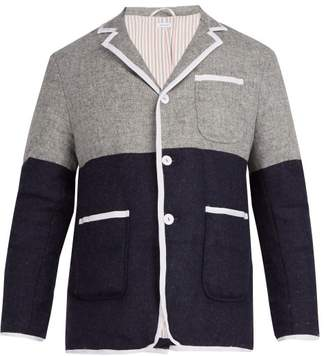 Thom Browne Bi Colour Single Breasted Down Wool Coat - Mens - Light Grey