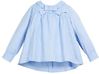 Mayoral Oxford Bow-Tie Blouse, Size 3-7