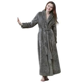 ab8bc2fe73 at Amazon Canada · Hellomamma Women Long Bathrobe Ladies Warm Plush Fleece  Robe Soft Shower Nightgown