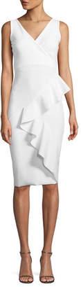 Chiara Boni Ceren Asymmetric-Ruffle Wrap Sheath Dress