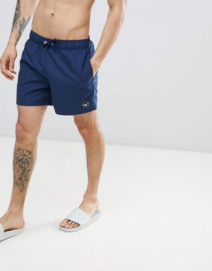 Hollister Guard Swim Shorts Solid Seagull Logo in Navy