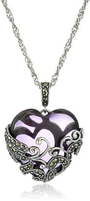 """Glass Heart Amazon Collection Sterling Silver Oxidized Genuine Marcasite and Filigree Pendant Necklace, 18"""""""