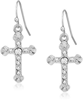 1928 Jewelry Tone Crystal Accent Religious Crucifix Cross Drop Earrings