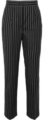 Dolce & Gabbana Pinstriped Wool-blend Straight-leg Pants - Black