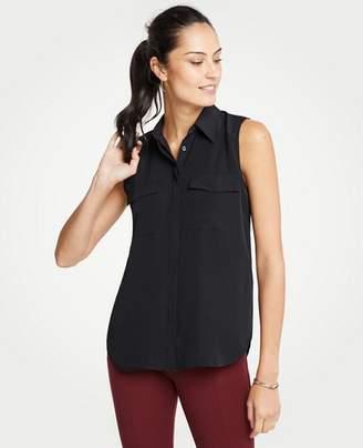 Ann Taylor Petite Sleeveless Camp Shirt