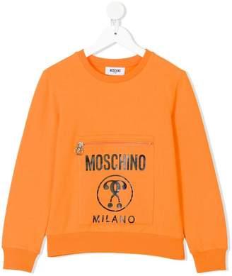 Moschino Kids TEEN zipped pocket sweatshirt
