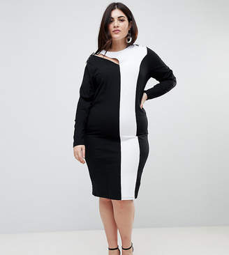 Asos Color Block Midi Bodycon Dress With Asymmetric Sleeve And Lace Up Detail