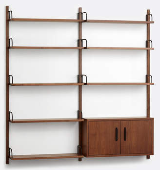 Rejuvenation Hart Modular Walnut Double Shelving Unit with Cabinet