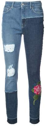 Dolce & Gabbana skinny patchwork jeans with floral embroidery
