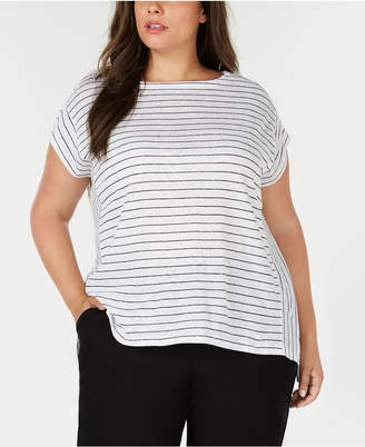 Eileen Fisher Plus Size Organic Linen Striped Top