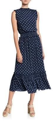 MICHAEL Michael Kors Foulard Smocked-Waist Sleeveless Midi Dress