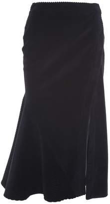 Cédric Charlier Flared Ribbed Velvet Midi Skirt