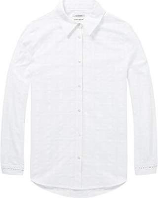Scotch & Soda Maison Women's Sheer Checked Shirt Ladder Tape Inserts Blouse,Medium