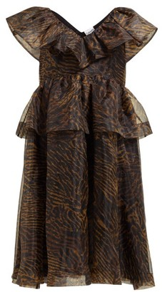 Ganni Tiger Print Ruffled Organza Dress - Womens - Brown