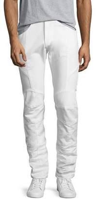 Pierre Balmain Slim-Straight Moto Jeans, Off White
