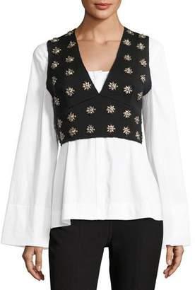 Elizabeth and James Leola Embellished Cross-Back Sleeveless Crop Top