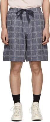 J.W.Anderson Navy Logo Grid Linen Shorts