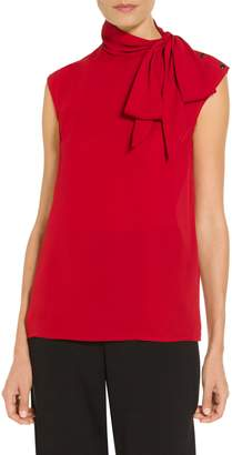 St. John Satin Silk Georgette Tie Neck Top