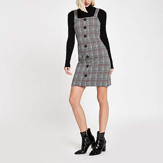 River Island Red check button up pinafore mini dress