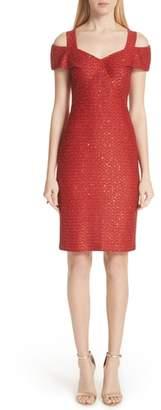 St. John Glamour Sequin Knit Cold Shoulder Dress