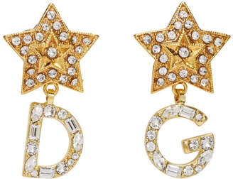 Dolce & Gabbana Gold Logo Crystal Earrings