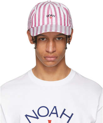 Noah NYC White and Red Seersucker Six Panel Cap
