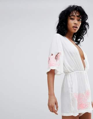 Asos DESIGN Neon Cutwork Embroidered Kimono Beach Romper