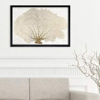 Beachcrest Home 'Gold Coral Fan Nautical Art' Wrapped Canvas Print Format: Canvas,