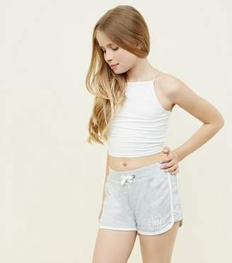 New Look Teens Grey New York Slogan Side Shorts