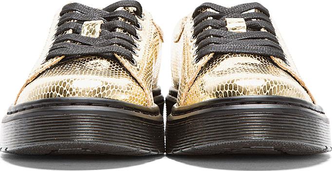 Dr. Martens Metallic Gold Snakeskin Spin Sneakers
