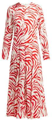 MSGM Zebra Print Panelled Crepe Dress - Womens - Red White