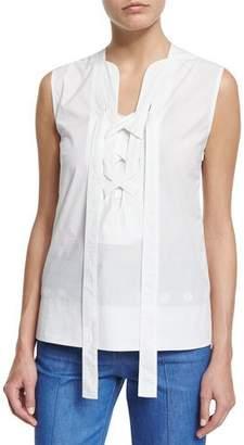 Derek Lam Sleeveless Lace-Up Blouse, White $695 thestylecure.com